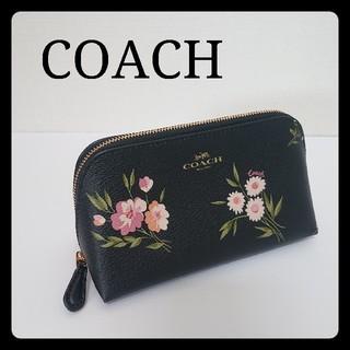 COACH - 【週末セール!】美品 COACH コーチ 花柄 レザー ポーチ