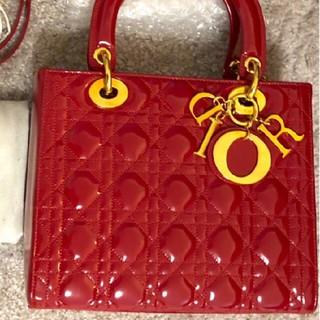 Dior - 【美品】Christian Dior レディディオールバッグ赤