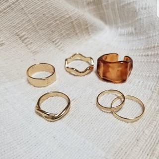 ロンハーマン(Ron Herman)のゴールド シルバー リング 指輪 セット  重ね付け ミル チェーン クリア(リング(指輪))