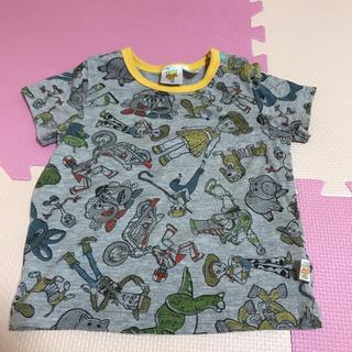 ディズニー(Disney)のDisney トイストーリー4 総柄 Tシャツ 95 グレー バズ ウッディ(Tシャツ/カットソー)