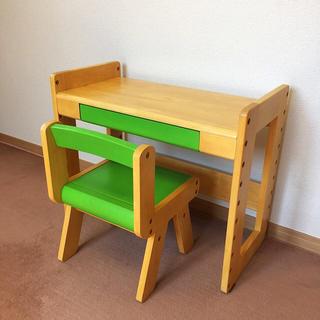 USED/勉強机/机 椅子 セット/黄緑(学習机)