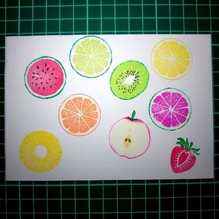 消しゴムはんこ「スイカ・リンゴ・パイナップル・イチゴ・オレンジ」  957(はんこ)