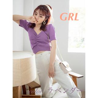 GRL - GRL  新品 フロントギャザーショート丈ニットトップス