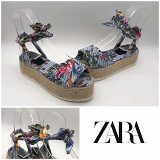 ザラ(ZARA)のZARA Woman ザラ サンダル ウエッジソール オープントゥ 美品(サンダル)