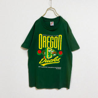 ディズニー(Disney)の【90s】ディズニー ドナルド 薔薇 Tシャツ メンズ M 古着 グリーン(Tシャツ/カットソー(半袖/袖なし))