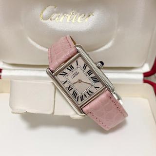 Cartier - 外装仕上済 カルティエ 新型 マストタンク ピンクメッシュ Dバックル 腕時計