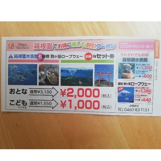 匿名配送 箱根園水族館 駒ヶ岳ロープウェイ割引券(水族館)