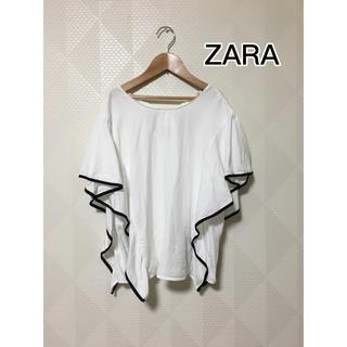 ZARA - ZARA ザラ フリル ブラウス パイピング ホワイト Lサイズ