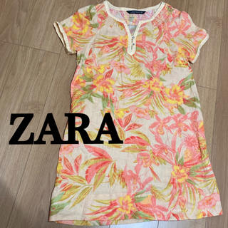 ザラ(ZARA)のZARA 美品 花柄 リネンワンピース チュニック(ミニワンピース)