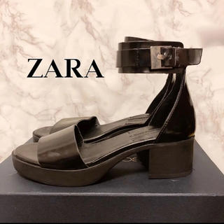 ザラ(ZARA)のZARA ザラ サンダル チャンキーヒール モード レザー(サンダル)