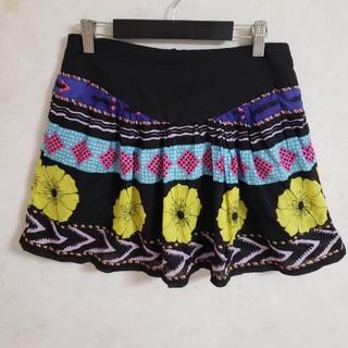 ローズバッド(ROSE BUD)のローズバッド ROSEBUD  フレアスカート ミニスカート ブラック 花柄 (ミニスカート)