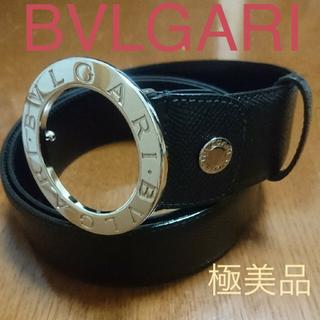 BVLGARI - ブルガリ BVLGARI  ブルガリ 黒レザー ユニセックスベルト B-ZERO