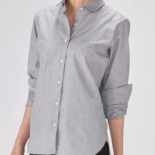 ムジルシリョウヒン(MUJI (無印良品))のオーガニックコットンブロード丸襟シャツ 婦人M・ダークグレー 2018(シャツ/ブラウス(長袖/七分))