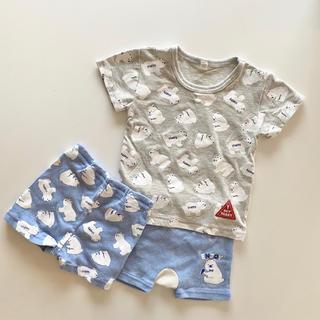 ニシマツヤ(西松屋)の西松屋 ベアTシャツ&短パン2枚 【3枚セット】(Tシャツ)
