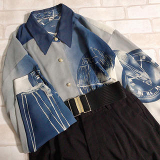 シースルー 青 寒色系 球体 レトロ古着 透け感 ヴィンテージシャツ メンズにも