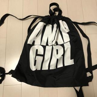 アナップ(ANAP)のANAP GIRL  アナップガール ナップサック ブラック デカロゴ(リュックサック)