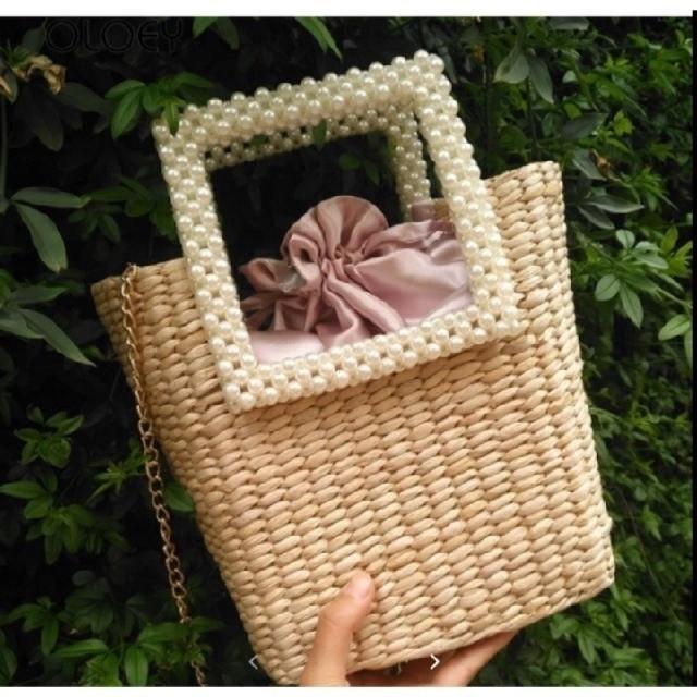 ZARA(ザラ)のレディース かごバッグ ピンク パ―ル カバン 夏 ショルダー   レディースのバッグ(かごバッグ/ストローバッグ)の商品写真
