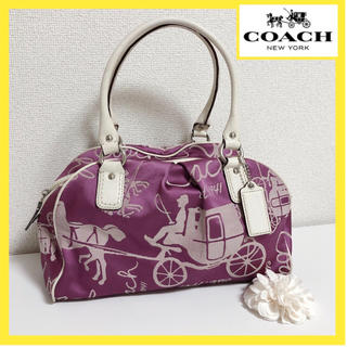コーチ(COACH)のコーチ バッグ ハンドバッグ トート 白 紫 ミニボストン(ハンドバッグ)