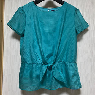 ニジュウサンク(23区)の23区 リボンデザインブラウス グリーン(シャツ/ブラウス(半袖/袖なし))