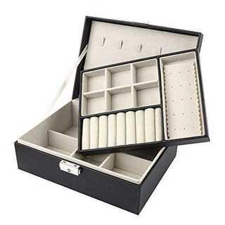 ブラックSeavish ジュエリーボックス 大容量 2段 コンパクト ジュエリー(ケース/ボックス)