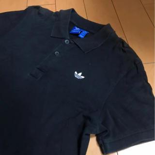 アディダス(adidas)のadidasブラックコットンカノコポロ(ポロシャツ)