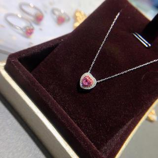 ピンクサファイア ダイヤモンドネックレス K18 新品(ネックレス)