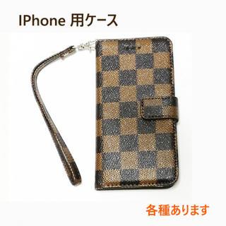 SALE★iPhone用ケース各種対応 チェック  茶色(iPhoneケース)