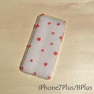 ドット柄 iPhone ケース カバー レッドハート 7Plus/8Plus(iPhoneケース)