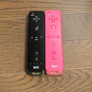 ウィー(Wii)のWii リモコン ブラック ピンク(家庭用ゲーム機本体)