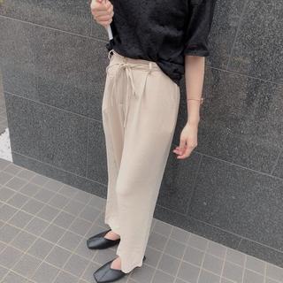 ディーホリック(dholic)の★新品未使用★ 韓国ファッション パンツ スラックス ベージュ ゴム素材 リボン(カジュアルパンツ)