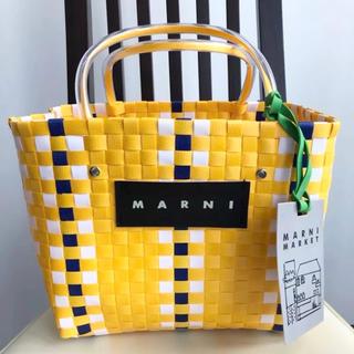 マルニ(Marni)のMARNI ピクニックバック ミニ  イエロー(かごバッグ/ストローバッグ)