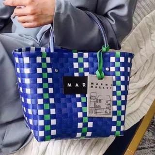 マルニ(Marni)のMARNI ピクニックバック ミニ ブルー(かごバッグ/ストローバッグ)