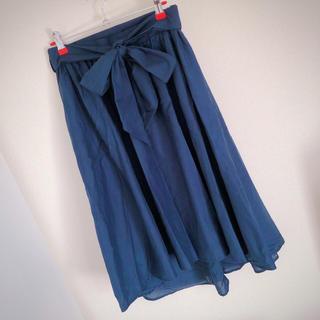グレイル(GRL)のGRL♡フレアスカート(ネイビー)(ひざ丈スカート)