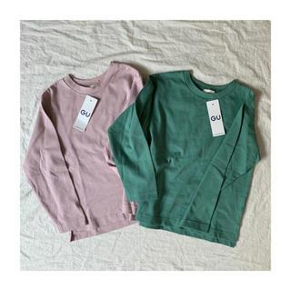 ジーユー(GU)のGU kids ヘビーウェイトクルーネックT ピンク グリーン 130(Tシャツ/カットソー)