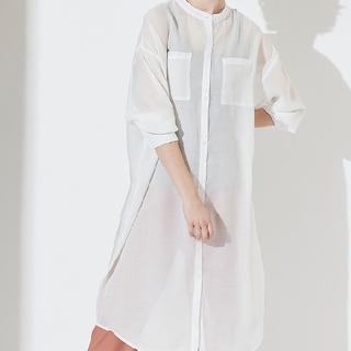 ティティベイト(titivate)の♡新品未使用♡バンドカラーシアーロングシャツ サイズS ホワイト(シャツ/ブラウス(長袖/七分))