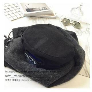 ウール素材 ベレー帽 秋冬 かぼちゃ型デザイン 黒(ハンチング/ベレー帽)