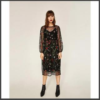 ZARA - すぐにお支払いで6月7日に発送 ザラ zara フラワー刺繍 ワンピース ドレス