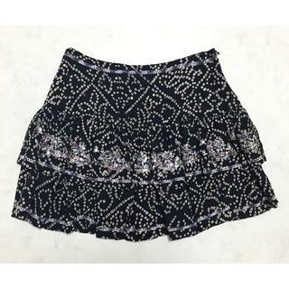 NINE - 超美品 NINE ナイン 刺繍 シルク スカート ブラック