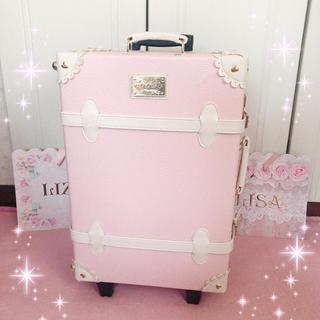 リズリサ(LIZ LISA)の☆リズリサLIZLISA☆薔薇&リボン型押し☆トランクキャリーバッグ☆新品ピンク(スーツケース/キャリーバッグ)