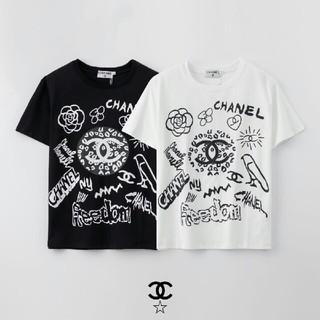 CHANEL - [2枚8000円送料込み]chanel 黒 白 Tシャツ 半袖