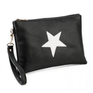 クラッチバッグ レザー 星柄 メンズ レディース ブラック ポーチ 収納 鞄(クラッチバッグ)