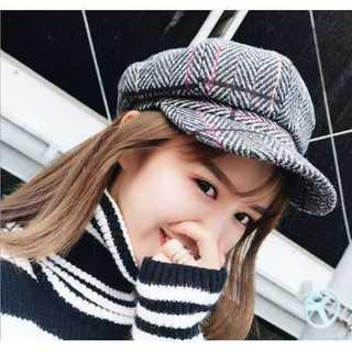 ダークグレー ツイード キャスケット M 帽子 ハット ハンチング コーデュロイ(ハンチング/ベレー帽)