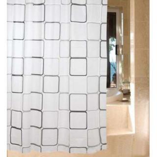 シャワーカーテン 防水 防カビ加工 シンプルカーテンリング付属 白黒 スクエア (カーテン)