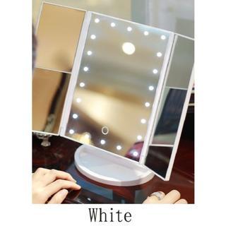 【新品未使用】ホワイト 女優ミラー LEDライト付き三面鏡  角度調節可能!(ミラー)