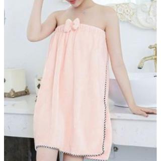 着れるバスタオル ピンク ラップタオル ふわふわ ルームウェア パジャマ(タオル/バス用品)