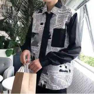 121 メンズ 英字新聞 シャツ ドルマン型 おしゃれ 韓国ファッション(Tシャツ/カットソー(七分/長袖))