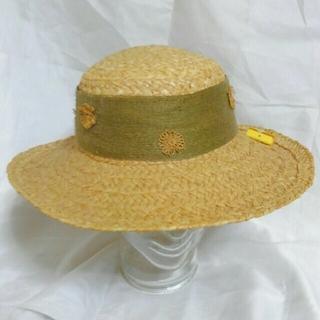 カシラ(CA4LA)のリボン 麦藁帽子 麦ワラ 幅広 カンカン帽 未使用品 CA4LA(ハンチング/ベレー帽)