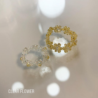 clear flower ✿ ビーズリング(リング)