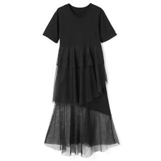 グレイル(GRL)のGRL チュールワンピース チュール Tシャツ ワンピース ブラック M(ロングワンピース/マキシワンピース)