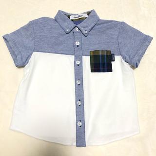 familiar - ポロシャツ 半袖 100 110 異素材 シャツ ホワイト ブルー ファミリア